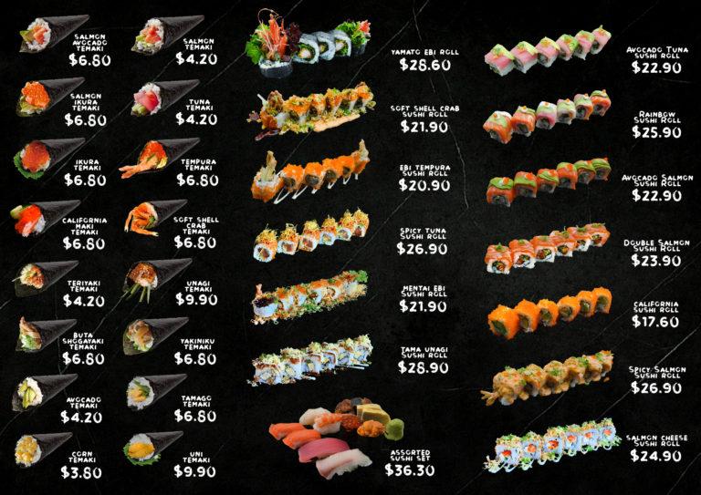 Sushi Back Menu