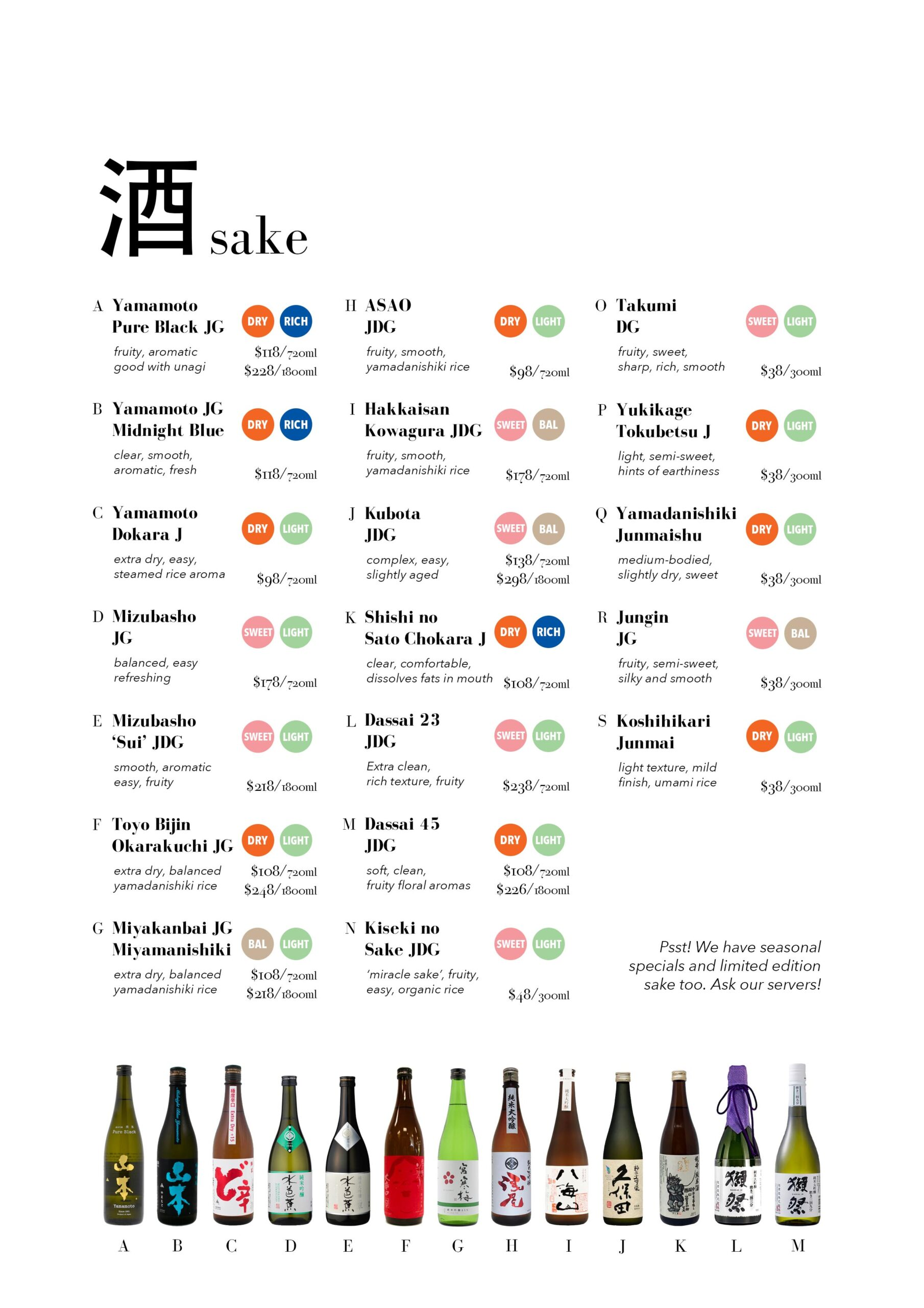 small sake menu delete